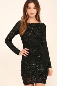 Shine of the Season Black Sequin Dress