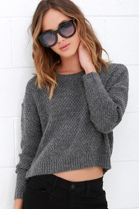 Obey Bianca Grey Cropped Sweater at Lulus.com!