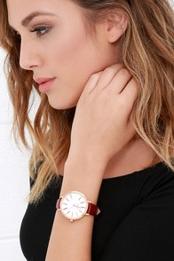 Breda Joule Maroon Leather Watch