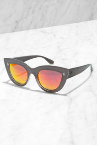 Quay Kitti Coffee and Orange Mirrored Cat Eye Sunglasses at Lulus.com!