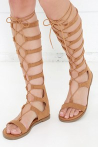 Chinese Laundry Galactic Cocoa Brown Tall Gladiator Sandals at Lulus.com!