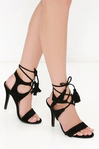 Forces of Nature Black Suede Lace-Up Heels at Lulus.com!