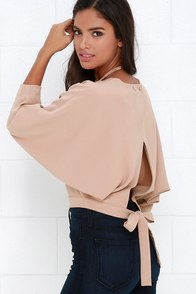 Branch and Vine Beige Crop Top