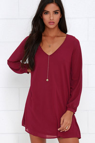 Give Me a Shift Wine Red Long Sleeve Dress at Lulus.com!