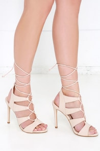 image Steve Madden Sandalia Blush Nubuck Leather Lace-Up Heels