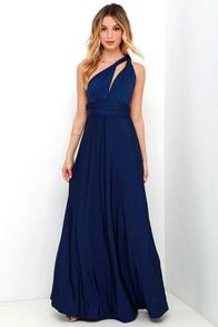 Always Stunning Convertible Navy Blue Maxi Dress