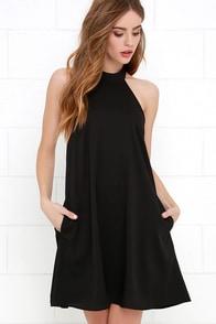 I Need a Hero Black Halter Dress
