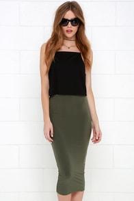 Cover the Basics Olive Green Midi Skirt at Lulus.com!