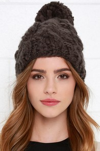 Deer Lodge Charcoal Cable Knit Beanie