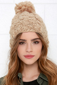 Deer Lodge Beige Cable Knit Beanie