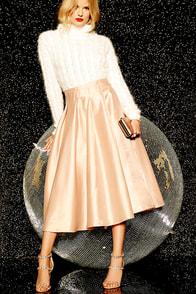Without Question Blush Midi Skirt $62.00 AT vintagedancer.com