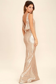 1930s Style Fashion Dresses Slink and Wink Matte Rose Gold Sequin Maxi Dress $78.00 AT vintagedancer.com