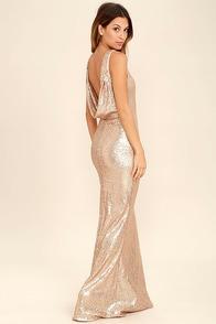 Gold sequin bodice maxi dress