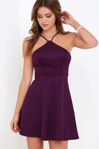 Steal the Spotlight Purple Skater Dress