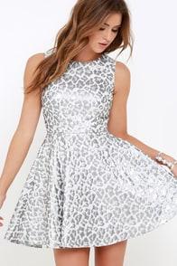 Louder than a Lion Silver Leopard Print Skater Dress at Lulus.com!