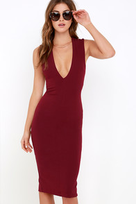 Betwixt and Between Wine Red Backless Midi Dress at Lulus.com!