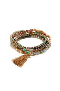 Full Influence Brown and Turquoise Wrap Bracelet at Lulus.com!