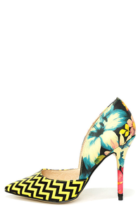 Chinese Laundry Stilo Yelllow Floral D'Orsay Pumps