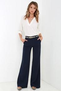 Chic Navy Blue Pants Wide Leg Pants Blue Trousers 49 00