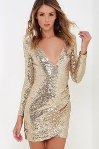 Meet Me In Times Square Gold Sequin Dress at Lulus.com!