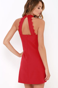 Formal Correspondence Red Lace Dress