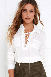 Stylistic Reins Ivory Long Sleeve Lace-Up Top at Lulus.com!