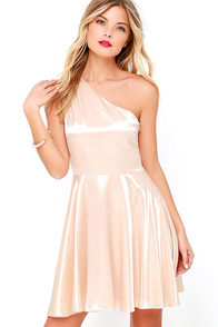 Shining for You Cream Satin One Shoulder Dress