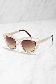 Quay Steel Cat Gold Sunglasses at Lulus.com!