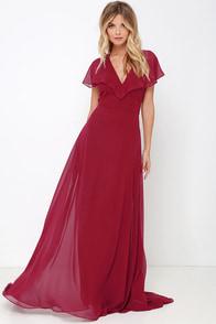 Elegant Arrival Wine Red Maxi Dress at Lulus.com!