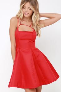 Gift of Rhyme Red Skater Dress at Lulus.com!