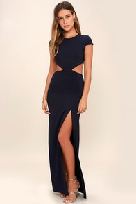 image Conversation Piece Navy Blue Backless Maxi Dress