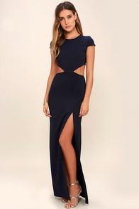 Conversation Piece Navy Blue Backless Maxi Dress