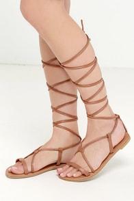 Sierra Madre Camel Leg Wrap Sandals at Lulus.com!