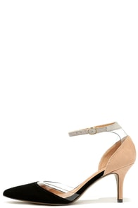 Chinese Laundry Only You Black and Nude Lucite Kitten Heels