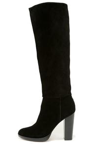Report Signature Lannister Black Suede Leather Knee-High Boots at Lulus.com!