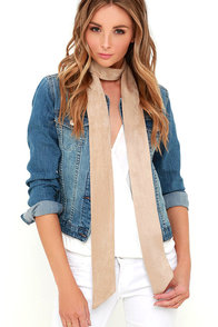 image These are the Days Beige Suede Skinny Scarf