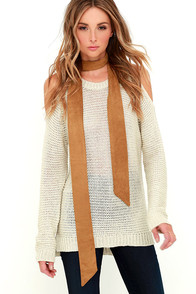image These are the Days Tan Suede Skinny Scarf