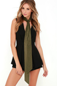 image These are the Days Olive Green Suede Skinny Scarf