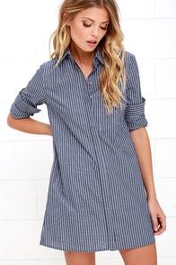 Prep Talk Blue Striped Shirt Dress at Lulus.com!