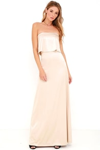 Ever So Lovely Beige Satin Maxi Dress