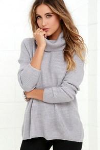 Sweet Salutation Grey Turtleneck Sweater