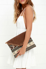 Shake Your Pompom Brown Print Clutch at Lulus.com!