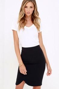 Wavelength Black Pencil Skirt