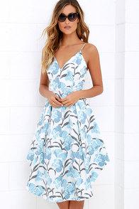 Keepsake Heart Strong Light Blue Floral Print Midi Dress at Lulus.com!