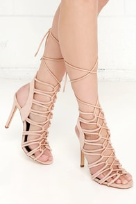 Laced to Know Nude Lace-Up Heels at Lulus.com!