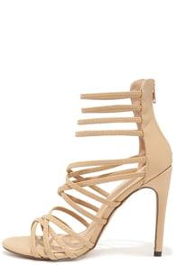 Invites Queen Nude Caged Heels at Lulus.com!