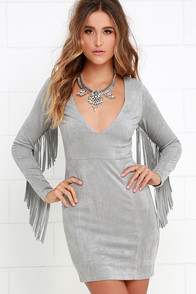 Still Wild Grey Suede Fringe Dress