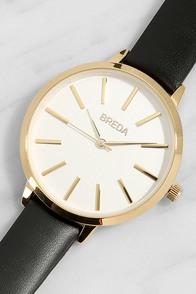 Breda Joule Black Leather Watch
