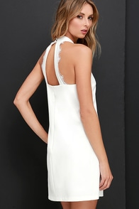 Formal Correspondence Ivory Lace Dress at Lulus.com!