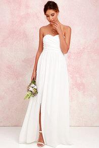 Moonlight Serenade Ivory Strapless Maxi Dress